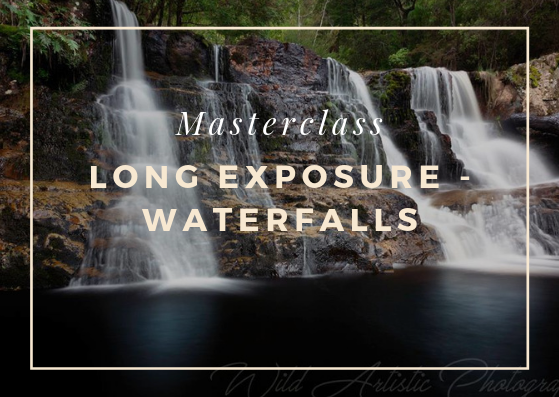 Photo is of a waterfall with text stating Masterclass - Long Exposure - waterfalls